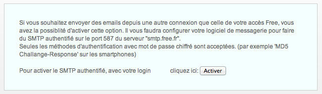 Activation du SMTP Free.fr